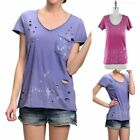 Garment Dye Cut Out Short Sleeve Raw Edge T Shirt Top with Chest Pocket S M L