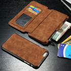 Hot Sale Mens Zipper Leather Removable Wallet Phone Case Flip Card Cover