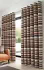 STRIPED CHENILLE ORANGE BROWN BEIGE LINED RINGTOP CURTAIN DRAPES * 5 SIZES *