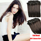 Full Head Set Clip in 100% Real Human Hair Extensions 14''-30'' Dark Brown #2