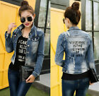 New Denim Jacket Womens Jean Jackets Ladies Slim Coats Waistcoat Size Blue S-XL