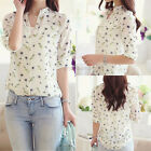 New Women Chiffon Shirt Floral Print Long Sleeve Blouse Casual Tops + White Vest