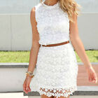 Women's Sexy Summer Sleeveless Evening Party Beach Dress Mini Lace Dress LA