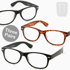 3 PAIRS of Wayfarer Rimmed READING GLASSES - BLACK/T'shell +1.0+1.5+2+2.50+3.00