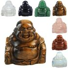Laughing Happy Buddha Carved Gemstone Crystal Lucky Figurine Statue Home Decor