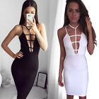 Sleeveless Women Sexy Summer Pencil Mini Evening Party Cocktail Strappy Dress A