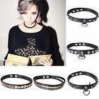 CHIC Fashion Rivets PU Leather Collar Punk Goth Choker Necklace Ring Neck Ring