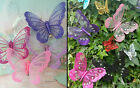GLITTER BUTTERFLY CLIP DECORATIVE ORNAMENT MESH NET GAUZE GEMS HOME DECORATION