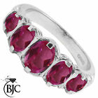 BJC® 9ct White Gold Victorian / Gypsy Style Graduating Pink Topaz 5 Stone Ring
