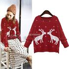 Women Knit Top Long Sleeve Pullover Casual Jumper Xmas Reindeer Sweater K0E1