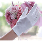 Women Bridal Shiny Stretch Satin Dress Gloves Wrist Length 2BL For Wedding New