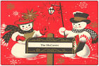 Vintage Christmas Snowman Metal Wall Plaque Tin Sign