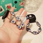Antique Brass Silver Evil Demon Big Scary Quirky Eye Eyeball Bracelet Link Chain