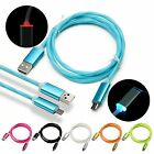 REAL 2A Fast Charge LED Rainbow Light Micro USB Date Sync Charger Cable Lot  3FT