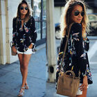 2018 Women's Chiffon V-Neck Floral Print Loose Long Sleeve T-Shirt Blouse Tops