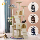 """Luxurious 73"""" Cat Tree Play House Tower Condo Furniture Scratch Post Toy Bed New"""