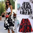 Women Skater Pleated Swing Skirts Maxi A-line Casual Tutu Hepburn Midi Dress