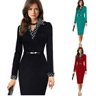 Plus Womens Long Sleeve Business Bodycon Party Evening Cocktail Pencil Dress New