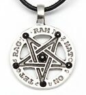 PEWTER Inverted PENTAGRAM Gothic Wiccan Pagan Druid BLACK ONYX Crystal Pendant