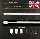TELESCOPIC WHITE CHROME OR BRASS EXTENDING CURTAIN NET ROD /  RODS POLES