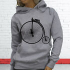 Tricycle Unique Brakes Saddle 1800s High Wheel Bicycle Womens Gray Hoodie