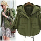 New Ladies Casual Loose Hooded Parka Military Crop Jacket Zip Coats Tops Outwear