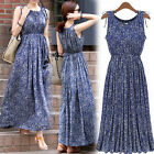 New Sleeveless Floral Printed Boho Beach Dress Long Women Summer Maxi Dress tbus