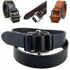 Men Women Genuine Cow Split Leather Alloy Buckle Casual Jean Belt Black Brown