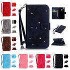 For Huawei Ascend P9 Lite Butterfly Diamond Wallet Leather Case Cover With Strap