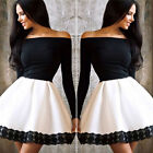 Off shoulder Black+White Womens Long Sleeve Cocktail Party Casual Skater  Dress