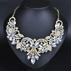 Fashion Rhinestone Crystal Chunky Statement Bib Pendant Chain Choker Necklace