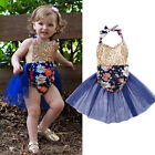 Gold Sequins Baby Girls Toddler Romper Bodysuit Backless Sunsuit Outfits Clothes