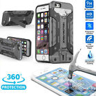 """iPhone 6 6S 4.7""""Rugged Phone Case Armor Hard &Soft Composite+9H Real Glass Films"""
