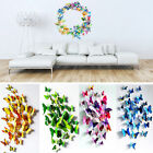 12/24 Pcs 3d Butterfly Sticker Art Design Decal Wall Stickers Home Decor Room