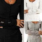 Womens Casual Cotton Long Sleeve Shirt Lace Blouse Slim Tops T Shirt 5 Color CH