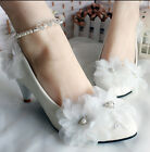 Women Crystal Pearls Ankle Strappy Bridal  Lace Flower Stilettos High Heel Shoes
