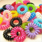 10PCS Elastic Rubber Hairband Phone Wire Hair Tie Ring Rope Band Ponytail LACA