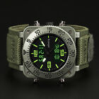 INFANTRY LCD Mens Digital Quartz Watch Aviator Militray Sport Green Rubber Nylon