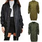 Ladies Longline Vintage Bomber Jacket Zip Up Mac Tunic Aviator MA1 Top Coat
