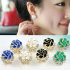 Fashion Women Lady Crystal Rhinestone Rose Flower  Ear Studs Earrings Jewelry