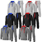 MENS FLEECE TRACKSUIT FULL SET HOODIE TOP BOTTOMS JOGGERS GYM CONTRAST JOGGING