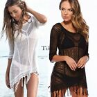 Women Hollow Half Sleeve Swimwear Cover Up Bathing Suit Bikini Beach Dress TXCL