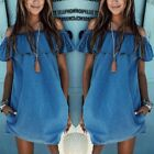 Womens Summer Boho Mini Dress Ladies Strapless Casual Beach Shorts Sun Dresses