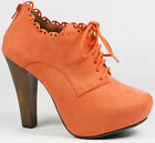 Orange Faux Suede Lace Up High Chunky Heel Platform Fashion Ankle Boot Qupid