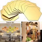 12Pcs Geometric Hexagon 3D Art Mirror Wall Sticker Decal Home DIY Decor Popular