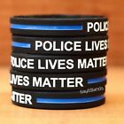 Ten (10) POLICE LIVES MATTER Thin Blue Line Wristbands - Show Police Support