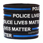 One Hundred 100 POLICE LIVES MATTER Thin Blue Line Wristbands Police Support