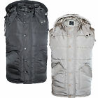 Mens Hooded Quilted Zip Up Gilet Bodywarmer Front Pockets Sleeveless Jackets