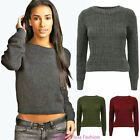 Womens Cable Knit Ladies Ribbed Pullover Knitwear Sweater Plain Jumper Top