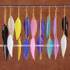 Pair Candy Color Acrylic Dangle Leaf Golden Tassel Earring Women Hook Party Gift